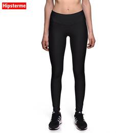 Wholesale Printed Elastic Jeggings - Wholesale- HIPSTERME Pure black 3D Digital Printing Legging Fitness Women Leggings Pants Elastic Slim Jeggings