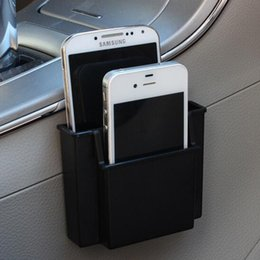 Wholesale Mobile Charging Bag - Wholesale- New Multifunctional Car Cell Phone Holder Black Mobile Phone Charge Box Holder Pocket Organizer Car Seat Bag Storage#S025
