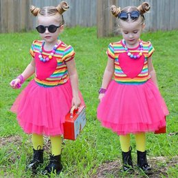 Wholesale Rainbow Striped Tutu - girls Rainbow stripes puffy dress short sleeves high quality tutu dress for children girl casual style pleated patchwork skirt summer retail