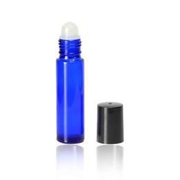 Wholesale Cobalt Perfume - 10 Ml 1 3Oz Roll on Bottles -Refillable Cobalt Blue Glass Empty Perfume Roll on Oil Bottles