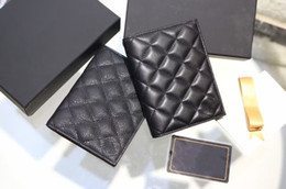 Wholesale Black Quilted Wallet - Famous brand quilted caviar leather passport holder Card ID Holder real leather lambskin wallet passport small wallet black