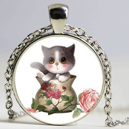 Wholesale Silver Plated Flower Vases - Cat Series Cute Small Cat In Flower Vase Galaxy Round Pendant Necklace For Women Statement Glass Cabochon Long Necklace