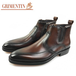 Wholesale Vintage Mens Dress Shoes - GRIMENTIN Newest Italian luxury vintage mens boots genuine leather handmade brown black male dress ankle boots for men shoes size:38-44 2JM8