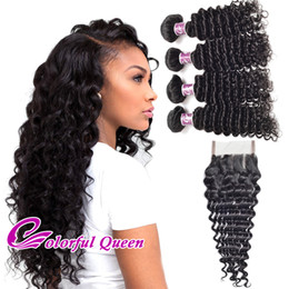 Wholesale Peruvian Deep Wave Curly Closure - Peruvian Curly Hair 4 Bundles With Closure Deep Curly Wave Peruvian Deep Curly Virgin Hair Weaves With Closure Deep Wave with Closures