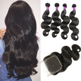 Wholesale Buy Body Wave Hair Closure - Peruvian Body Wave Hair Weave Bundles Human Hair Bundles Non Remy Can buy 3 or 4 Bundles Can Match With Closure