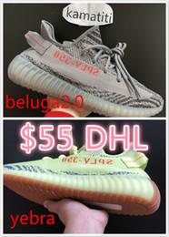 Wholesale Free Green - Free DHL 350 V2 semi Froze Stripe Sply-350 cream white zebra breds beluga shoes fashion big size shoes 36-48 best quality shoes