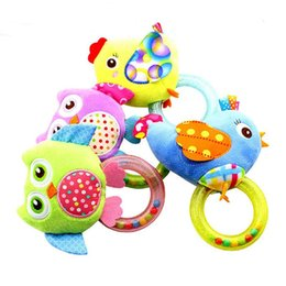 Wholesale Owl Plush Toy Baby - 0-3 Y Baby Rattle hand Bell Toy 5 Style Owl Bird Chicken Animals Plush Happy Monkey Gift WJ290