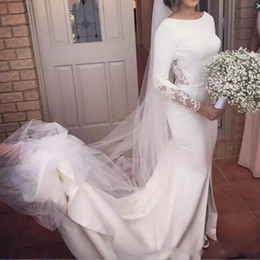 Wholesale Cap Sleeve Satin Wedding Dresses - Vintage Long Sleeves Wedding Dresses Beach Wear Sweep Train Lace And Satin Backless Wedding Dress Simple Front Split Mermaid Bridal gowns