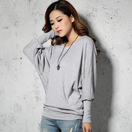 Wholesale Loose Fitting Tops For Women - Women Tops Long Sleeve Loose Fit Tee Shirts Batwing Tops For Plus Size Fashion Clothing Roupa Feminina Black T Shirt 70H0062