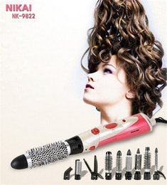 Wholesale Rotating Air Brush Hair Styler - Wholesale- 9 in 1 Hair Styler Brush dryer brand Comb Rotating Brush Hair Comb Hot air Brush Hairdryer Pro Styling Tools hair straightener