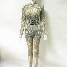 Wholesale Dance Rompers - Fashion 2017 Glisten Silver Rhinestones Jumpsuit Flashing Belt Outfit Sexy Party Dress Crystals Costume Body Suits Dance Rompers