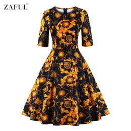 Wholesale Tropical Party Dresses - Wholesale- ZAFUL Women O Neck Half Sleeves A-line 50s 60s Audrey Vintage Dress Tropical Ethnic Floral Feminino Vestidos S~4XL Party dresses