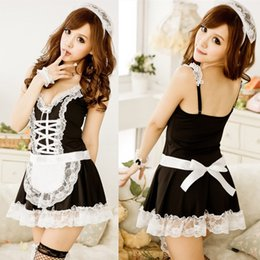 Wholesale Lovely Underwear Sex - Sexy Lingerie Underwear Lovely Female Maid Lace Sexy Miniskirt Lolita Maid Outfit Sexy Costume Sex Products