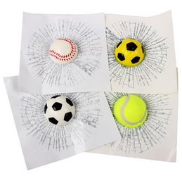 Wholesale 3d Reflective Stickers - Funny Car Window Decal 3d Sticker Ball Simulation Baseball Football Tennis C200 18.7*18.7 cm Personalized Exterior Decoration