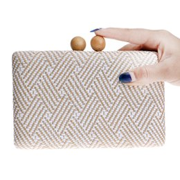 Wholesale Wooden Purses - Wholesale- Wooden metal women handbags knitted material small purse day clutches evening bags chain evening bag for wedding dinner