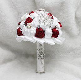 Wholesale White Rose Bridesmaid Bouquets - Pearls Glass Crystal Burgundy& White Rose Women Wedding Holding Flowers Beads Lady Big Girls Bridal Rhinestones Bridal Bridesmaid Bouquets