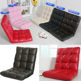 Wholesale High Backed Sofas - Home & Garden & Bedroom Furniture PU Leather Lazy Sofa Floor Chair High Quality Japanese Style Folding Tatami Chairs with Back Support