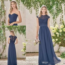 Wholesale Lace Bridesmaid Dresses Jacket - Navy Blue Two Pieces Country Bohemian Long Bridesmaid Dresses with Lace Jacket 2018 Plus Size Maid of Honor Wedding Guest Junior Dress