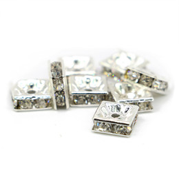 Wholesale Religious Supplies - Supply Crystal Clear Rhinestone Copper Square Spacer Beads Jewelry Makings Findings Silver Color, 100pcs pack, IA03-01