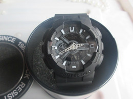 Wholesale Digital Matte Box - Matte all black dial GA110 sports watches LED chronograph wristwatch military digital watch with box