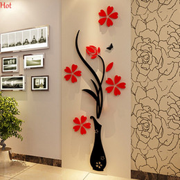 Wholesale Blue Light For Room - Wholesale Wall Stickers Acrylic 3D Plum Flower Vase Stickers Vinyl Art DIY Home Decor Wall Decal Red Floral Wall Sticker Colors YSB000031