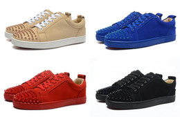 Wholesale Media Matters - New arrived 2017 fashion men and women's matter leather with spikes red bottom low top sneakers designer lace up skateboard causal shoes