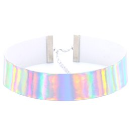 Wholesale Collared Slaves - 4 Colors Laser Rainbow PU Leather Choker Necklace Collars Torques band cuff for Women Fashion Slave Jewelry Gift