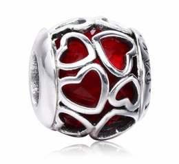Wholesale Valentine Red Heart - 2017 New Valentine Gift Heart Love Charm Fit For Pandora Bracelet DIY Bead Charm 925 Sterling Silver Jewelry