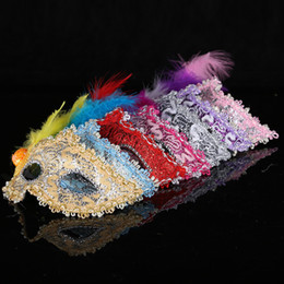Wholesale Red Masks Feathers - Sexy Venetian Lace feather eye mask beautiful princess party performances Halloween masquerade masks party mask nightclub mask