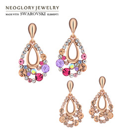 Wholesale Austrian Crystal Earrings Flower - Flower Austrian Multi Colorful Dangle Earrings Gift Girl Friend Brand Fashion Statement Jewelry 2017 New Hot Colf Neoglory
