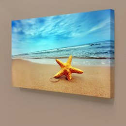 Wholesale Blue Starfish Decoration - Modern 1 PCS Blue Sky Beach Starfish Giclee Printing On Canvas For Living Room Cafe Home Decor Wall Art Picture Wholesale Decoration