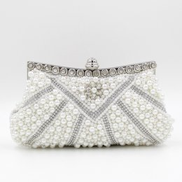 Wholesale Metal Purse Handbag Frames - Wholesale-Women Bridal Pearl Clutch Purse Wedding Crystal Bride Beaded Shoulder Bags Handbag Ladies Metal Frame Clutches Bolsas De Noche