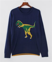 Wholesale Dinosaur Sweaters - Wholesale- women high quality runway sweater jumper autumn winter fashion dinosaur sweaters oversized basic pullover knitwear blue color
