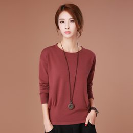 Wholesale collar designs sweaters - High quality Silk sweater New design pullover O-Neck sweater turn-down collar solid color women's basic sweater Free shipping