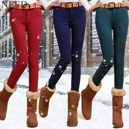 Wholesale Skinny Jeans Women Candy Color - Wholesale- 2017 Winter Warm Jeans For Women Mid Waist Candy Color Thick Fleece Jeans With Velvet Plus Size