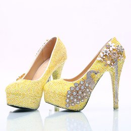 Wholesale Girls Kitten Dresses - Lemon Yellow Rhinestone Wedding Party Shoes Handmade Bridal Dress Shoes Girl Birthday Party High Heels Prom Pumps Plus Size
