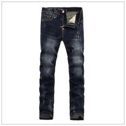 Wholesale Slimming Bomb - Christmas gift for!Male dark blue micro-bomb beggar hole tide male Korean Slim jeans feet
