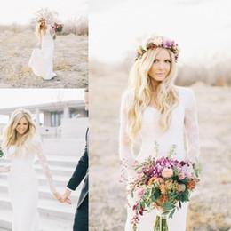 Vestidos largos estilo hippie online-Nueva Couture Country Style Bohemio Hippie vestidos de novia de encaje con cuello en v manga larga más tamaño por encargo de encaje transparente Boho vestidos de novia