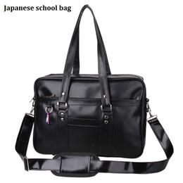 Wholesale Shoulders Handbags For School - Wholesale- Japanese School Handbags High College Students Uniform Bag Unisex Shoulder Bags Messenger Bags PU Leather For Women Men Kabelky