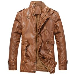 Wholesale Warm Leather Jackets For Men - Wholesale- 2017 Fashion Brand PU Faux Casual Men Leather Jacket Male Coats Winter Warm Velvet Hombre Veste Motorcycle Outerwear for Male