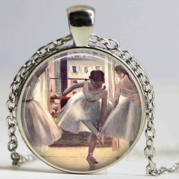 Wholesale Crystal Ballerina Necklace - BALLET necklace By Edgard Degas Custom pendant Art Literary Jewerly for Dancer Ballerina Cabochon Glass Gift necklace