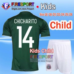Wholesale Youth Footballs Set - 2017 Mexico national team Kids Soccer Jerseys Child youth boys Uniform Green Kit 2018 World Cup G.Dos Santos CHICHARITO football shirt Set