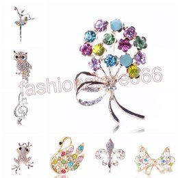 Wholesale Flower Bouquet Jewelry - 16 Styles animal brooches and pins bouquet jewelry Fashion Rhinestone crystal animal owl Turtle swal flower Brooches Pins Wholesale