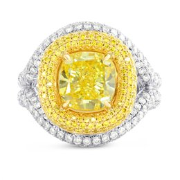 Wholesale Platinum Diamond Halo Ring - 5.66Cts Yellow Diamond Engagement Halo Ring Set in Platinum GIA Certified
