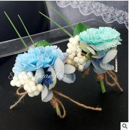 Wholesale Silk Flower Corsage Brooches - The Mediterranean theme wedding corsage brooches simulation silk flowers groomsman bridesmaid corsages