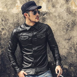 Wholesale Leather Hooded Dress - Wholesale- New Men Clothing Casual Slim Fit men long sleeve Leather shirt Motorcycle jackets Mens Dress Shirts Long Sleeve chemise homme