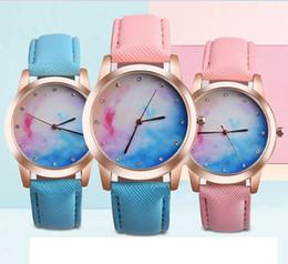 Wholesale Double Diamond Watches - Blue and pink double color fashion sky women 2017 leather watch wholesale casual ladies simple dress diamond quartz watches