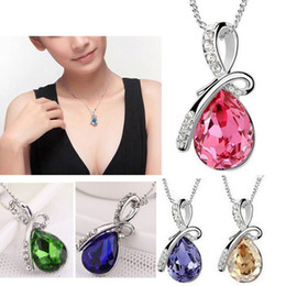 Wholesale Rhinestone Crystal Tear Drop Necklace - New Women Fashion Water Drop Crystal Chain Diamond Angel Tears Necklaces Rhinestones Silver Chain Pendant Necklace Jewelry Mixed Color