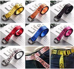 Wholesale Yellow Fabric Belt - Buckle Belts Men Extend Fashion yellow Logo Print Belt Women Hip hop Streetwear Skateboards Virgil Abloh Industrial Man Gril Fabric Belt