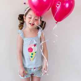 Wholesale Girls Ice Cream Top - Korean Baby Girls Clothing Sets New ice cream Ruffle Sleeve Tops + Printed Shorts 2pcs Sets Cotton Caual Summer Kids outfits C972